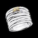 Kiff & Kiss Ring, silver, yellow gold and diamonds