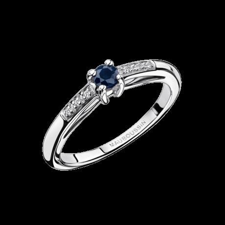 Petit mot d'Amour Ring, white gold, sapphire and diamonds