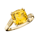 Môme je t'aime Ring , yellow gold, citrine and diamonds