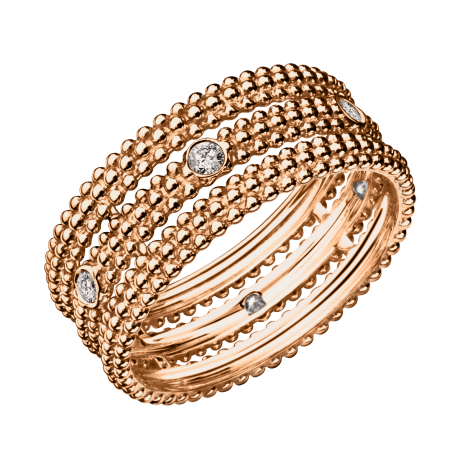 Ring Le Premier Jour, pink gold, 1 row of diamonds