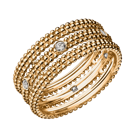 Ring Le Premier Jour, yellow gold, 1 row of diamonds