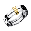 Wedding band Subtile Eternité, white gold, link in yellow gold