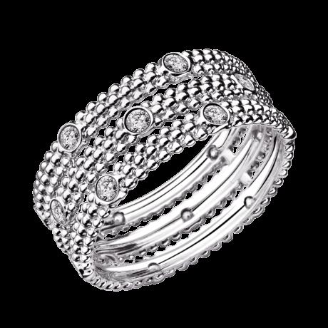 Ring Le Premier Jour, white gold, 3 rows of diamonds