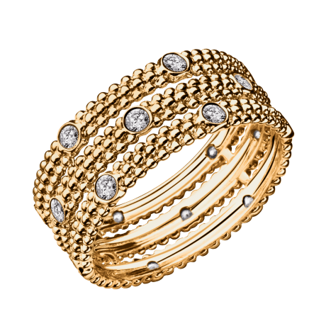 Ring Le Premier Jour, yellow gold, 3 rows of diamonds
