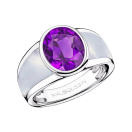 My First Madame Ring, white gold, amethyst and white mother of pearl