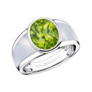 My First Madame Ring, white gold, peridot and white mother of pearl