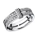 Wedding band Subtile Eternité, white gold, link in white gold, diamonds