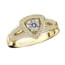 Dream & Love ring, yellow gold, diamond 0,20 carat approximatively, diamonds pave