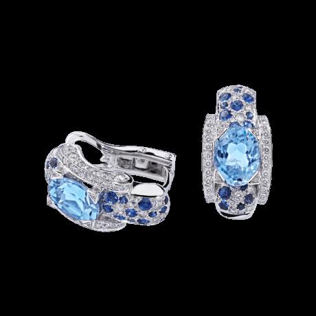 Eternité Elégance Earrings, white gold, aquamarine, Sapphires and diamonds