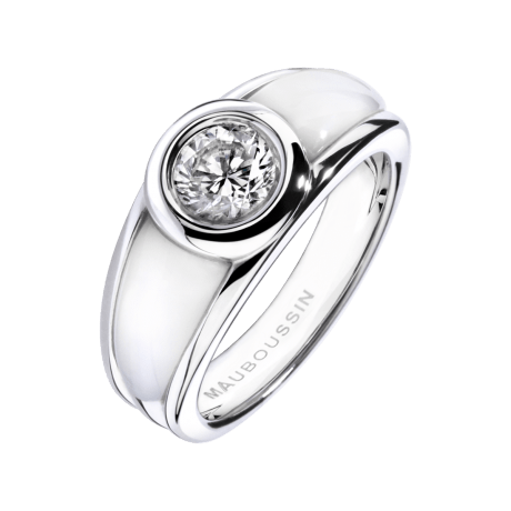 Ring Nadia white gold diamond white mother of pearl by