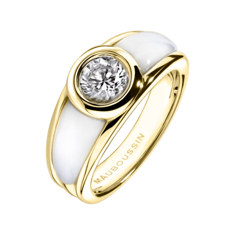 Ring Nadia, yellow gold, diamond, white mother of pearl