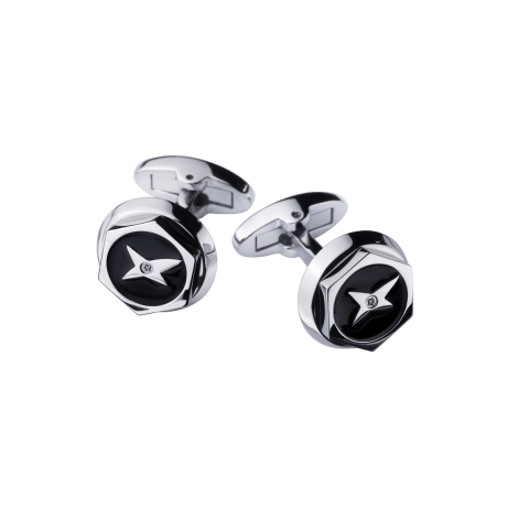 Cufflinks Les Boutons de l'Oubli, stainless steel, black lacquer, diamonds