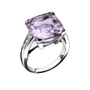 Gueule d'Amour ring, white gold, Rose de France and diamonds