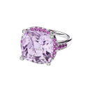 Couleur d'Amour ring, white gold, rose de France , diamonds and paved pink sapphires