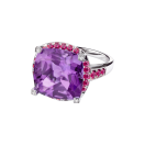 Couleur d'Amour ring, white gold, amethyst, diamonds and paved rubies
