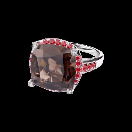 Couleur d'Amour, white gold, smokey quartz, diamonds and orange sapphires