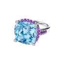 Couleur d'Amour ring, white gold, blue topaz, diamonds and paved amethysts