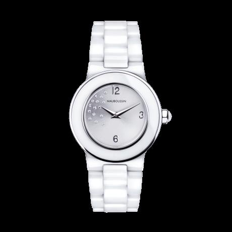 Amour le Jour watch, white ceramic bracelet and diamonds dial