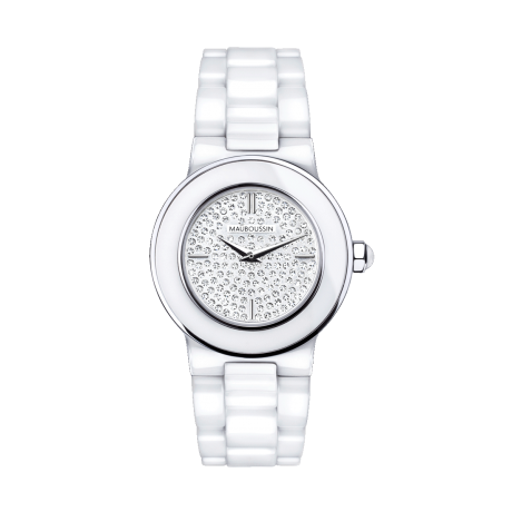 Amour le Jour watch, white ceramic bracelet and full diamond pave dial