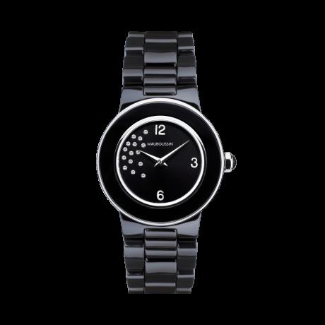 Amour la Nuit, black ceramic bracelet and diamonds dial
