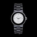 Amour la Nuit, black ceramic bracelet and full diamond pave dial