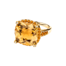 Couleur d'Amour ring, yellow gold, citrine, diamonds and paved orange sapphires