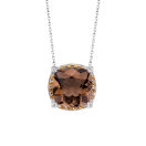 Couleur d'Amour pendant, white gold, smoky quartz, diamonds and orange sapphires