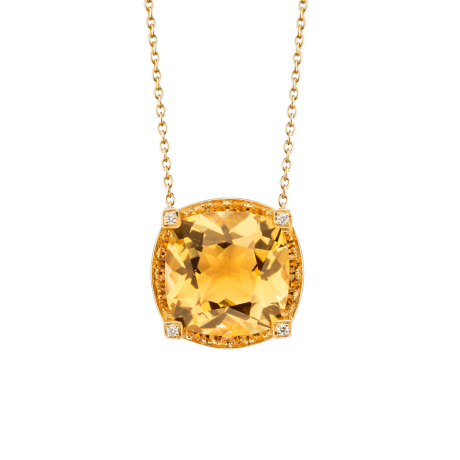 Couleur d'Amour pendant, yellow gold, citrine, diamonds and yellow sapphires