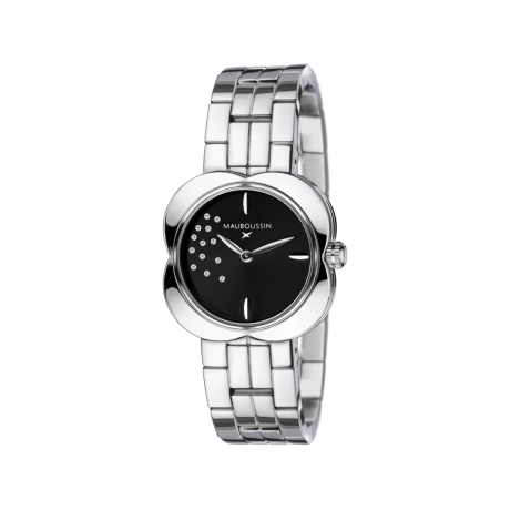 Chance Day watch, stainless steelm black dial and diamonds