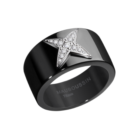 Star Divine Ring, titanium, white gold and paved diamonds