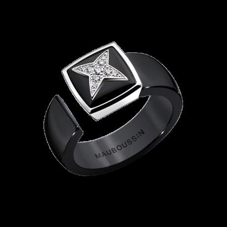 Etoile Sublime No. 2 ring, white gold, black ceramic and diamonds
