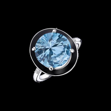 Absolument Toi ring, white gold, black enamel, blue topaz and diamonds