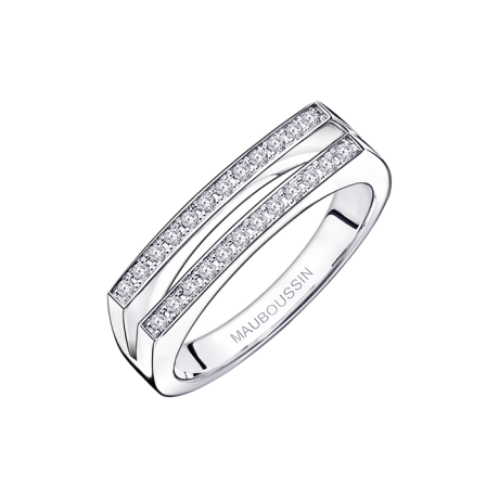 un P'tit Trip d'Amour ring, white gold with paved diamonds