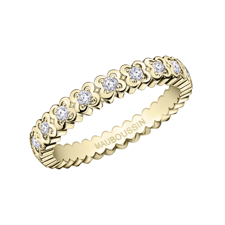 Amour de France ring, yellow gold and diamonds