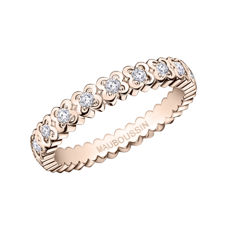 Amour de France ring, pink gold and diamonds