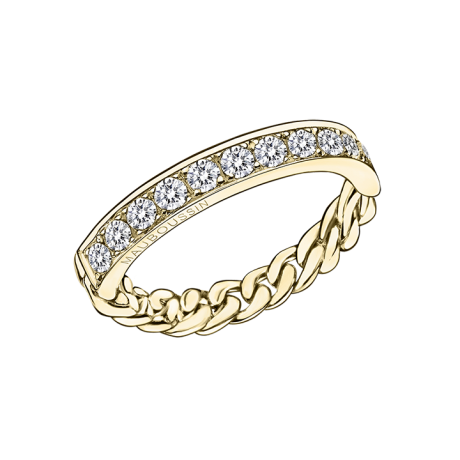 Mi-Chaîne, Mi-Diamants ring, yellow gold with diamonds