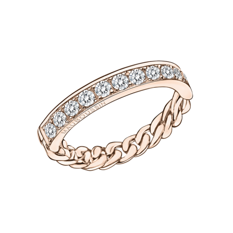 Mi-Chaîne, Mi-Diamants ring, pink gold with diamonds