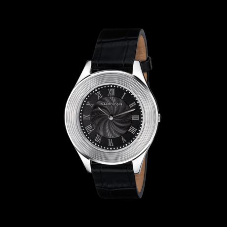 78 Tours men's ultra slim watch, black dial