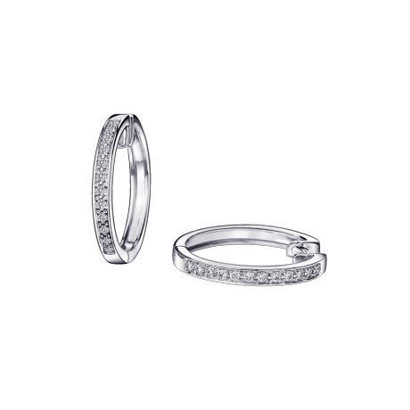 La Passion est un Volcan PM hoop earrings, white gold and diamonds