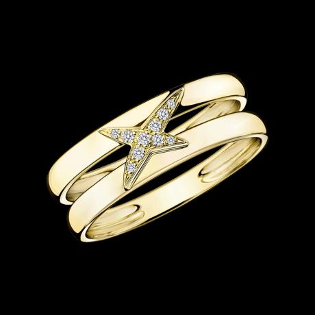 Etoilement Divine ring, yellow gold and diamonds