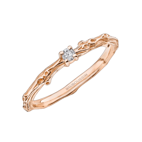 Mon Premier Petit Bisou ring, pink gold, diamond