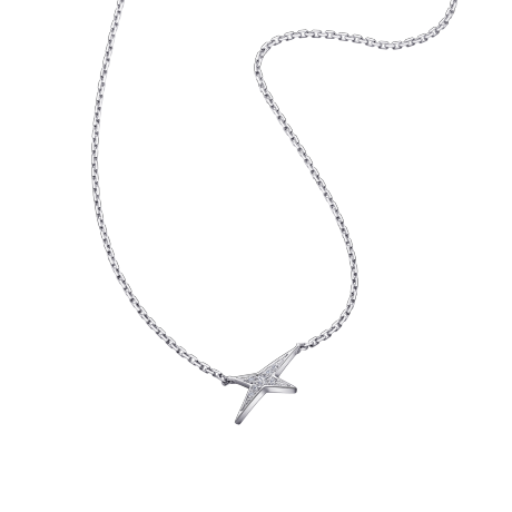 Valentine parce que Valentin necklace, white gold and diamonds