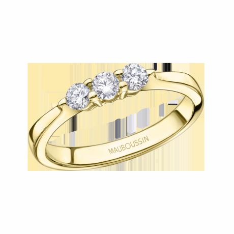 Pour te dire 3 Fois je t'Aime ring, yellow gold, diamonds