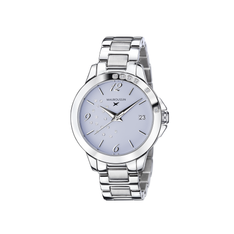 So Urgent ladies' watch, steel, blue dial and diamonds