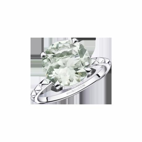 Un Arc-en-Ciel d'Amour ring, white gold, green amethyst