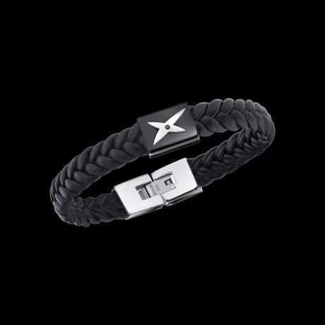 Mec, J'te Kiff bracelet, black leather, black steel and black diamonds