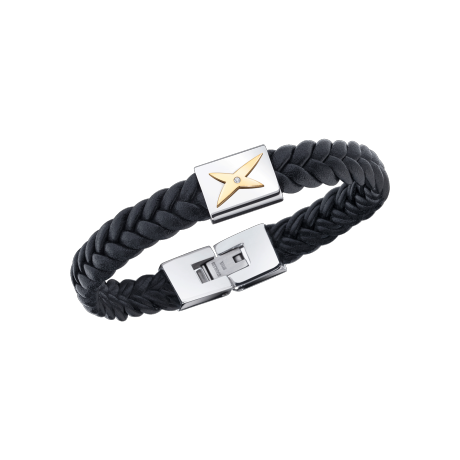 Mec, J'te Kiff bracelet, black leather, white steel and diamond