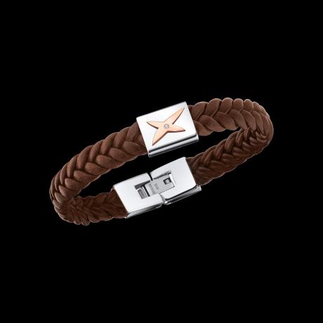 Mec, J'te Kiff bracelet, brown leather, white steel and diamond