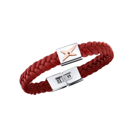 Mec, J'te Kiff bracelet, red leather, white steel and diamond