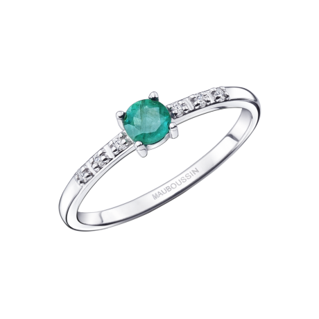 Capsule d'Emotions, Passionnément ring, white gold, emerald and diamonds